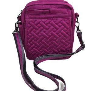 Lug Quilted Crossbody Bag Fuschia Raspberry
